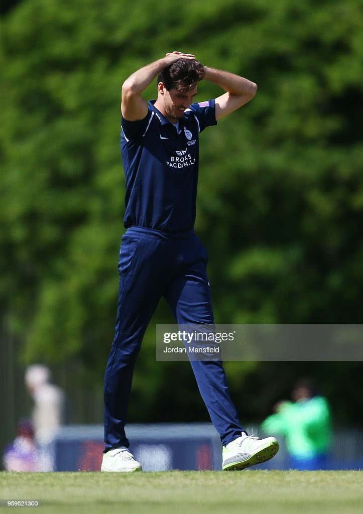 Steven Finn of Middlesex looks dejected during the Royal London One-Day Cup match between Middlesex and Essex at Radlett Cricket Club on May 17, 2018 in Radlett, England.