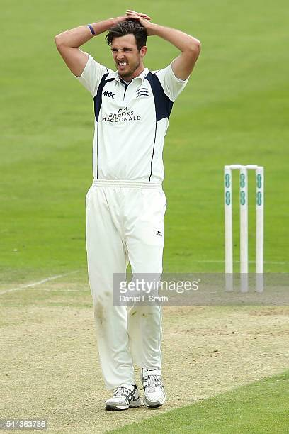 Steven Finn of Middlesex looks frustrated after a delivery during day one of the Specsavers County Championship division one match between Yorkshire...