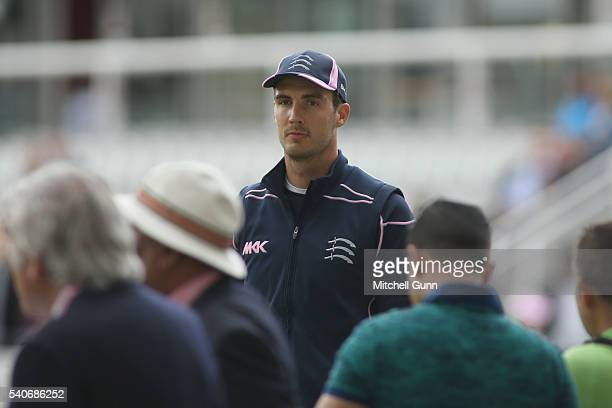 Steven Finn of Middlesex makes his way through the fans before the NatWest T20 Blast match between Middlesex and Sussex at Lords Cricket Ground on...