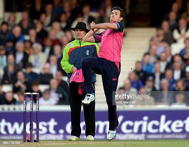 Steven Finn of Middlesex Panthers bowling during the NatWest T20 Blast match between Surrey and Middlesex Panthers at The Kia Oval on May 30 2014 in...