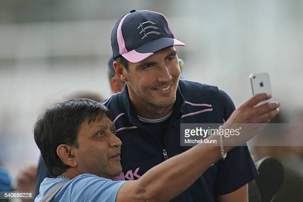 Steven Finn of Middlesex poses for a selfie with a fan before the NatWest T20 Blast match between Middlesex and Sussex at Lords Cricket Ground on...