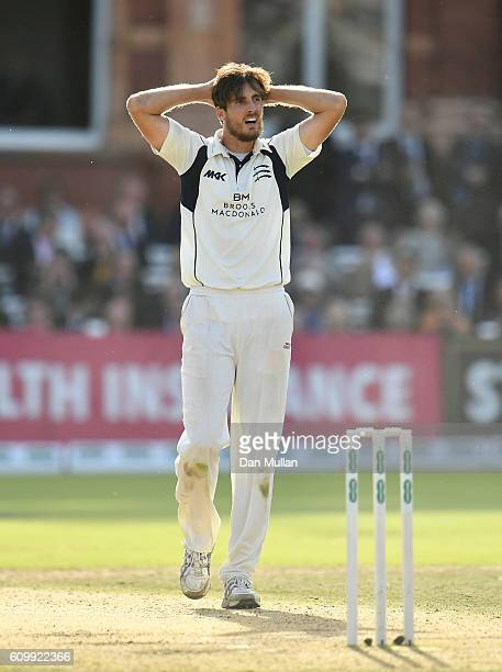 Steven Finn of Middlesex reacts whilst bowling during day four of the Specsavers County Championship match between Middlesex and Yorkshire at Lords...
