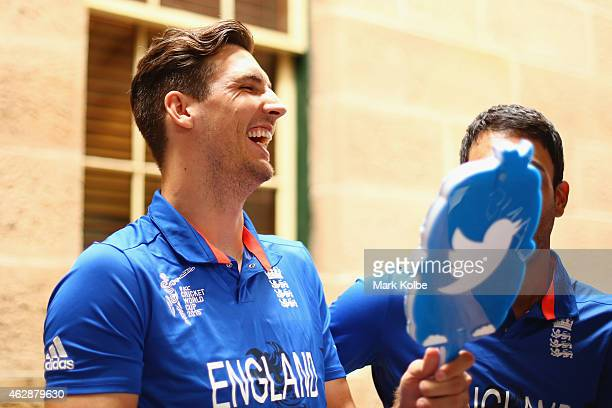 Steven Finn shares a joke with his team mates as he uses a twitter mirror during an England media session at The Intercontinental on February 7 2015...