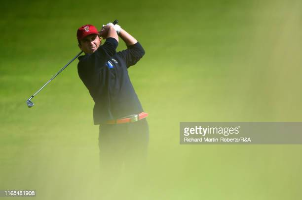 Steven Fisk of the United States hits an approach shot during a practice round at Royal Birkdale Golf Club prior to the 2019 Walker Cup on September...