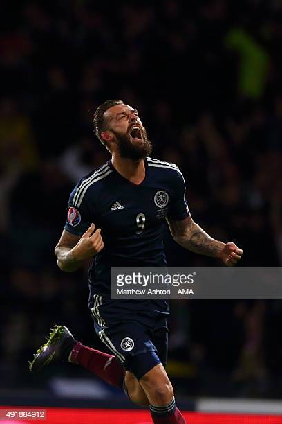 Steven Fletcher of Scotland celebrates after scoring a goal to make it 21during the UEFA EURO 2016 qualifier between Scotland and Poland at Hampden...