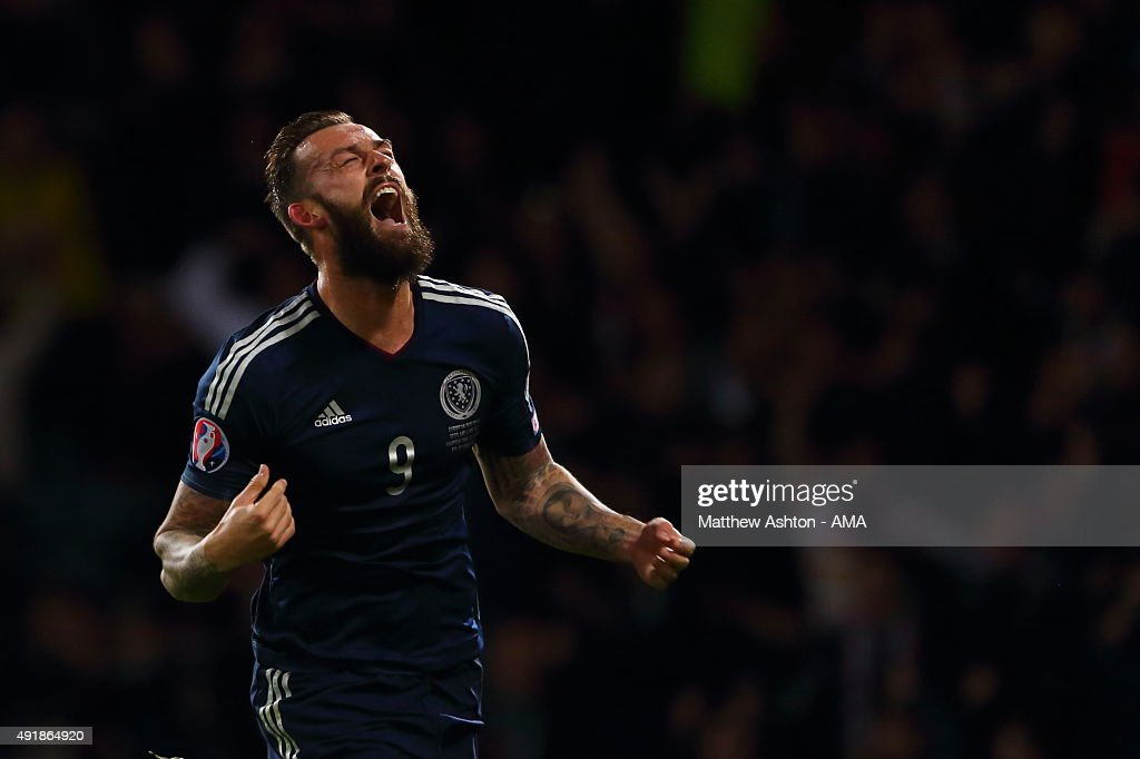 Steven Fletcher of Scotland celebrates after scoring a goal to make it 2-1during the UEFA EURO 2016 qualifier between Scotland and Poland at Hampden Park on October 8, 2015 in Glasgow, Scotland.