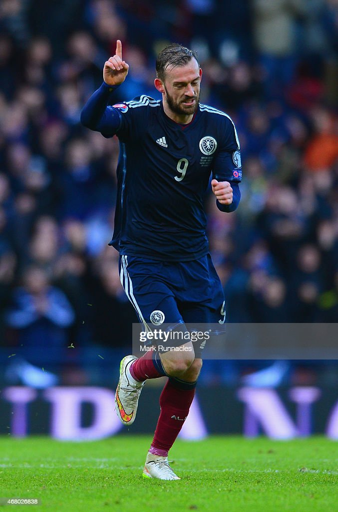Steven Fletcher of Scotland celebrates scoring his hat trick and Scotland's sixth goal during the EURO 2016 Qualifier match between Scotland and Gibraltar at Hampden Park on March 29, 2015 in Glasgow, Scotland.