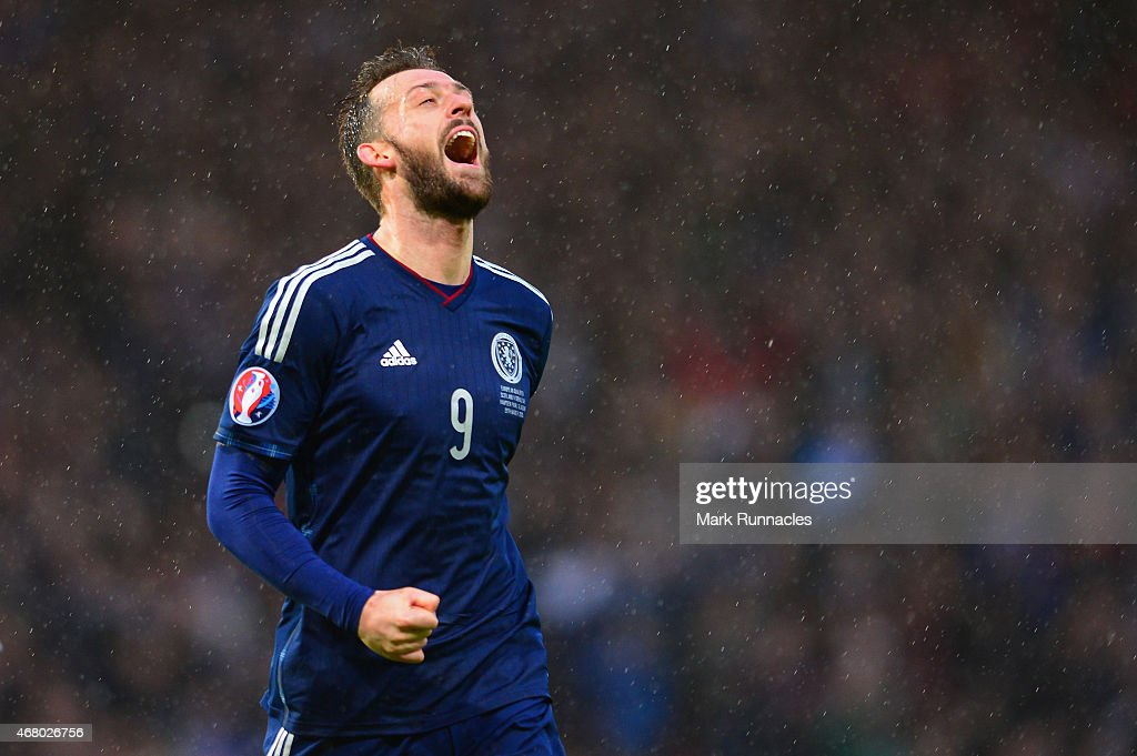 Steven Fletcher of Scotland celebrates scoring their fifth goal during the EURO 2016 Qualifier match between Scotland and Gibraltar at Hampden Park on March 29, 2015 in Glasgow, Scotland.