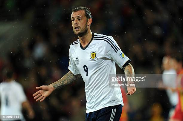 Steven Fletcher of Scotland looks to the assistant referee as his goal is disallowed