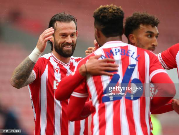 Steven Fletcher of Stoke City celebrates after he scores his team's first goal during the Sky Bet Championship match between Stoke City and Brentford...