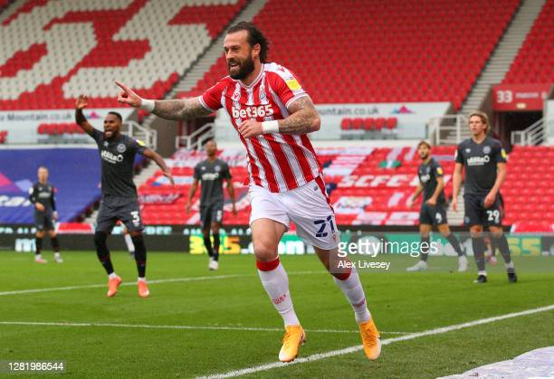Steven Fletcher of Stoke City celebrates after scoring his team's first goal during the Sky Bet Championship match between Stoke City and Brentford...