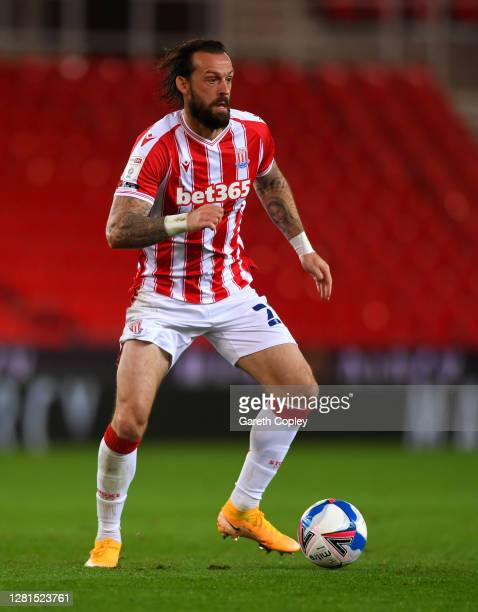 Steven Fletcher of Stoke City during the Sky Bet Championship match between Stoke City and Barnsley at Bet365 Stadium on October 21 2020 in Stoke on...