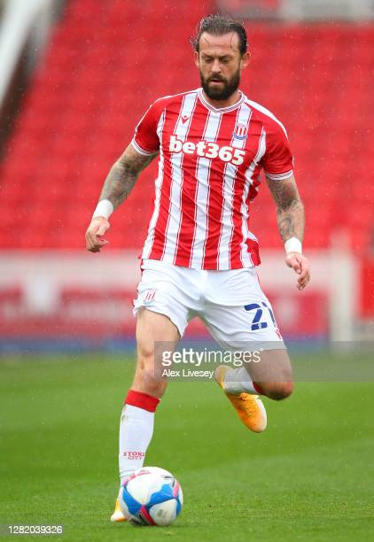 Steven Fletcher of Stoke City during the Sky Bet Championship match between Stoke City and Brentford at Bet365 Stadium on October 24 2020 in Stoke on...