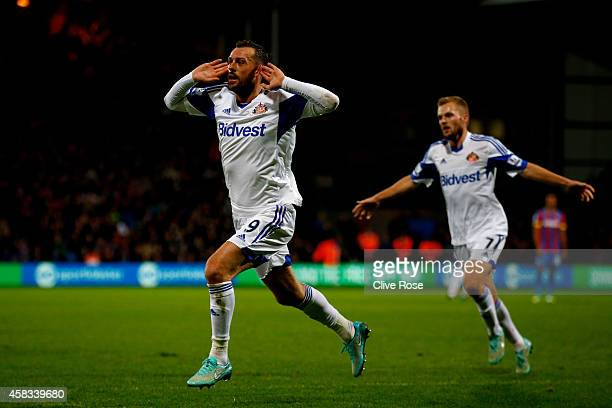 Steven Fletcher of Sunderland celebrates after scoring the opening goal during the Barclays Premier League match between Crystal Palace and...