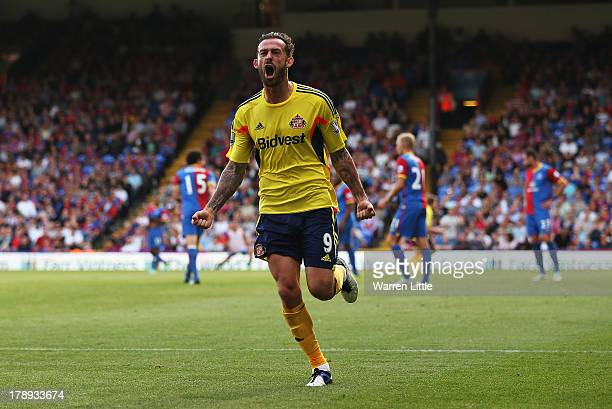 Steven Fletcher of Sunderland celebrates his goal during the Barclays Premier League match between Crystal Palace and Sunderland at Selhurst Park on...