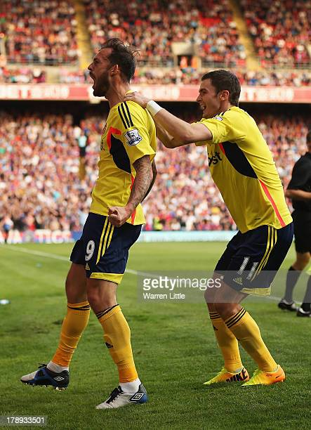 Steven Fletcher of Sunderland celebrates his goal with Adam Johnson during the Barclays Premier League match between Crystal Palace and Sunderland at...