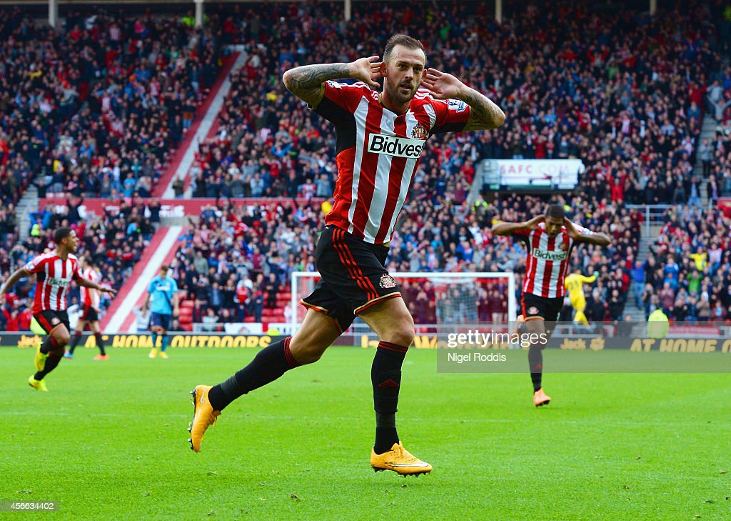 Steven Fletcher of Sunderland celebrates scoring the third goal and his second during the Barclays Premier League match between Sunderland and Stoke City at Stadium of Light on October 4, 2014 in Sunderland, England.