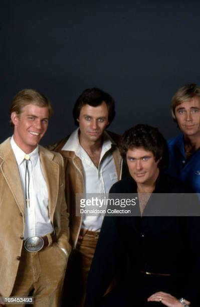 Steven Ford Tristan Rogers David Hasselhoff and Dennis Cole of the soap opera 'The Young And The Restless' pose for a portrait in circa1980 in Las...