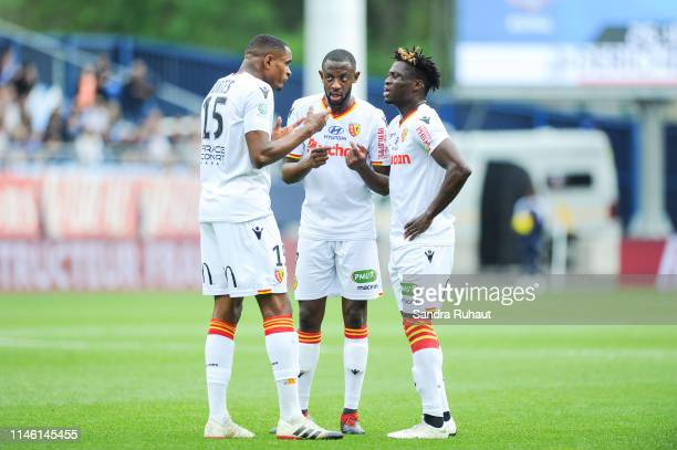 Steven Fortes Arthur Yannick Gomis and Arial Benadent Mendy of Lens during the Ligue 2 match between Troyes and Lens on May 24 2019 in Troyes France