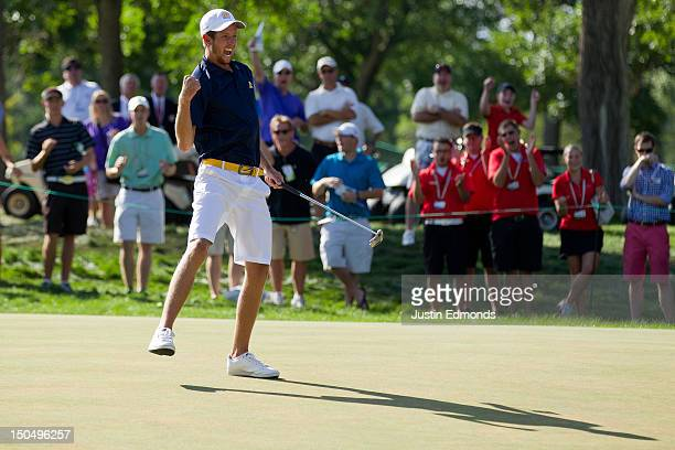 Steven Fox celebrates after baking birdie on the 37th hole to defeat Michael Weaver in the championship match at the 2012 US Amateur Championship at...
