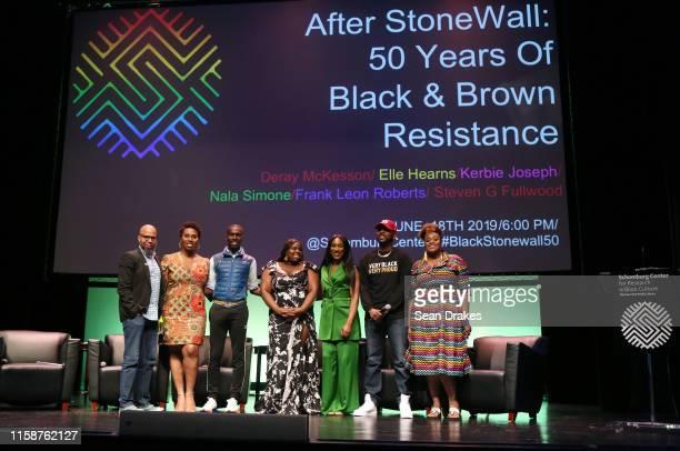 Steven G. Fullwood, Nala Simone, DeRay McKesson, Kerbie Joseph, Elle Hearns, Frank Leon Roberts and Aisha Diori pose at the panel discussion titled...