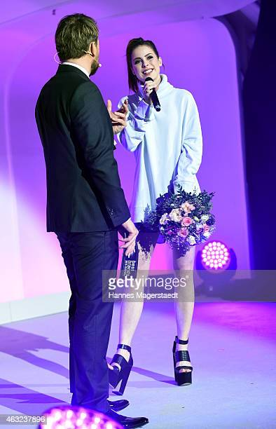 Steven Gaetjen and Lena MeyerLandrut attend the 'Best Brands 2015 Gala Award' at Hotel Bayerischer Hof on February 11 2015 in Munich Germany