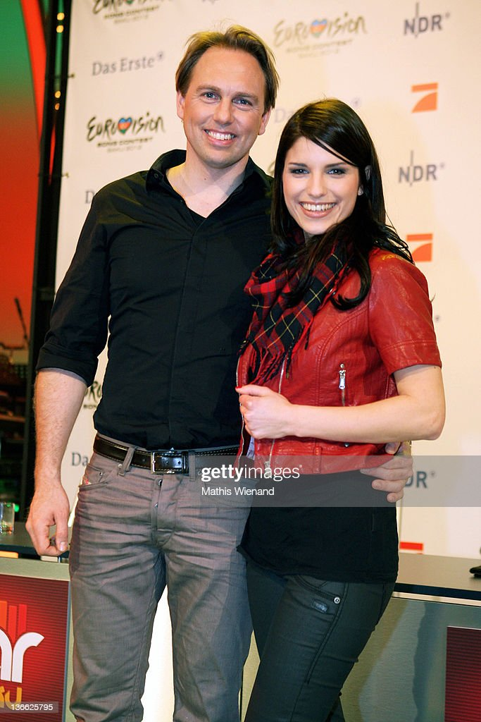 Steven Gaetjen and Sandra Riess pose during the press conference of 'Our Star For Baku' at Brainpool Studios on January 9, 2012 in Cologne, Germany.