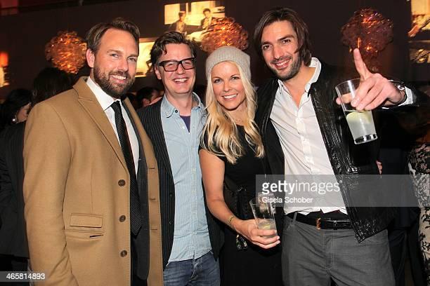 Steven Gaetjen Florian Simbeck Tina Kaiser Max Wiedemann attend the premiere of the film 'Vaterfreuden' at Mathaeser Filmpalast on January 29 2014 in...