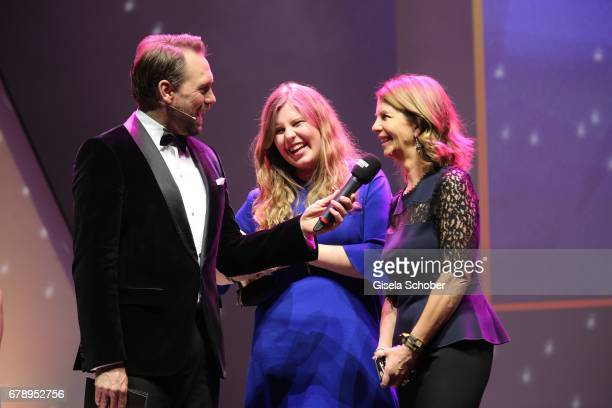 Steven Gaetjen sister of Caro Daur Isabelle Daur and her mother Monika Daur during the ABOUT YOU AWARDS at the 'Mehr Theater' in Hamburg on May 4...