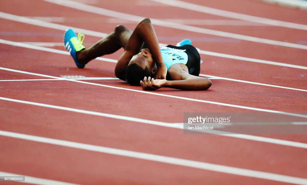 Steven Gardiner of Bahamas lies on the track during the Men's 400m Semi final during day three of the 16th IAAF World Athletics Championships London 2017 at The London Stadium on August 6, 2017 in London, United Kingdom.