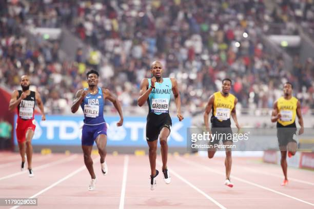 Steven Gardiner of the Bahamas competes in the Men's 400 metres final during day eight of 17th IAAF World Athletics Championships Doha 2019 at...