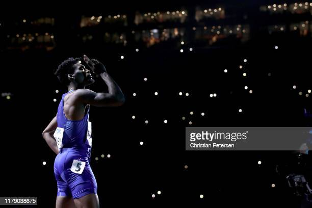 Steven Gardiner of the Bahamas crosses the line to win gold in the Men's 400 metres final during day eight of 17th IAAF World Athletics Championships...