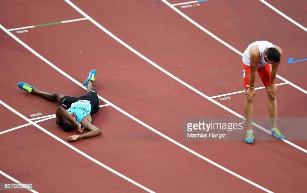 Steven Gardiner of the Bahamas reacts after his Men's 400 metres semi final during day three of the 16th IAAF World Athletics Championships London...