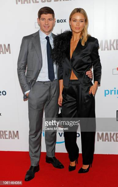 """Steven Gerrard and Alex Curran attend the World Premiere of """"Make Us Dream"""" at The Curzon Mayfair on November 14, 2018 in London, England."""
