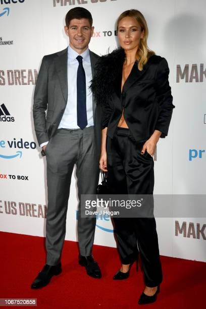 Steven Gerrard and Alex Curran attend the World Premiere of 'Make Us Dream' at The Curzon Soho on November 14 2018 in London England