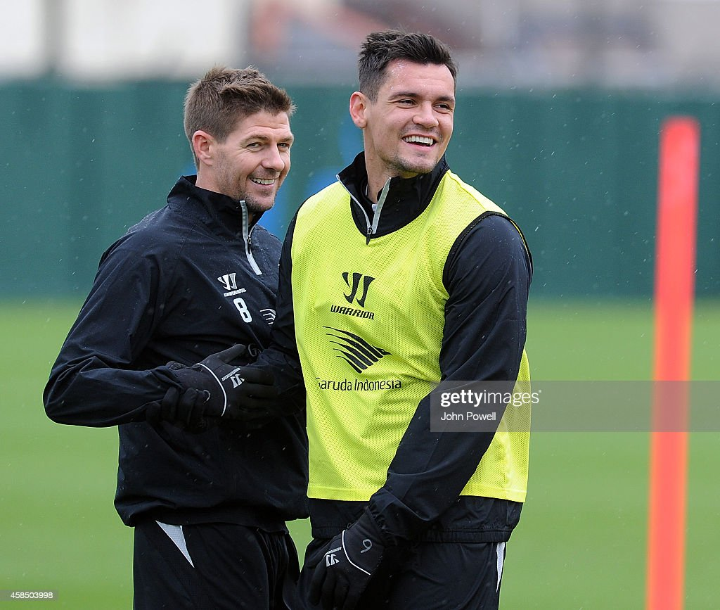 Steven Gerrard and Dejan Lovren of Liverpool during a training session at Melwood Training Ground on November 6, 2014 in Liverpool, England.