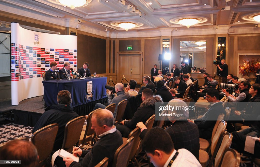 Steven Gerrard and England manager Roy Hodgson speak to the media during the England press conference at the Churchill Hotel on February 5, 2013 in London, England.