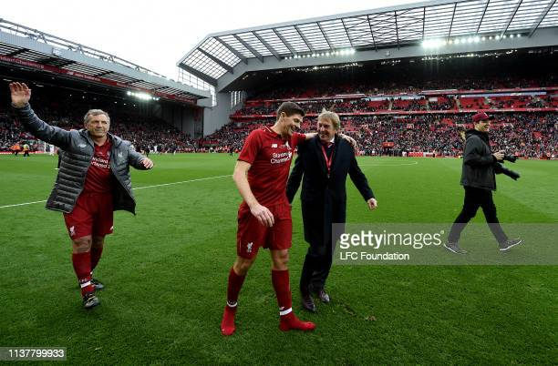 Steven Gerrard and Kenny Dalglish manager of Liverpool FC Legends laughing with each other at the end of the friendly match between Liverpool FC...