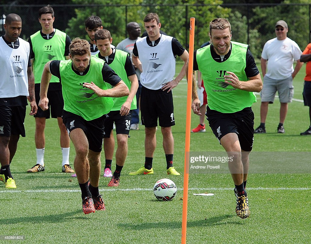 Steven Gerrard and Rickie Lambert of Liverpool in action during a training session at Princeton University on July 29, 2014 in Princeton, New Jersey.