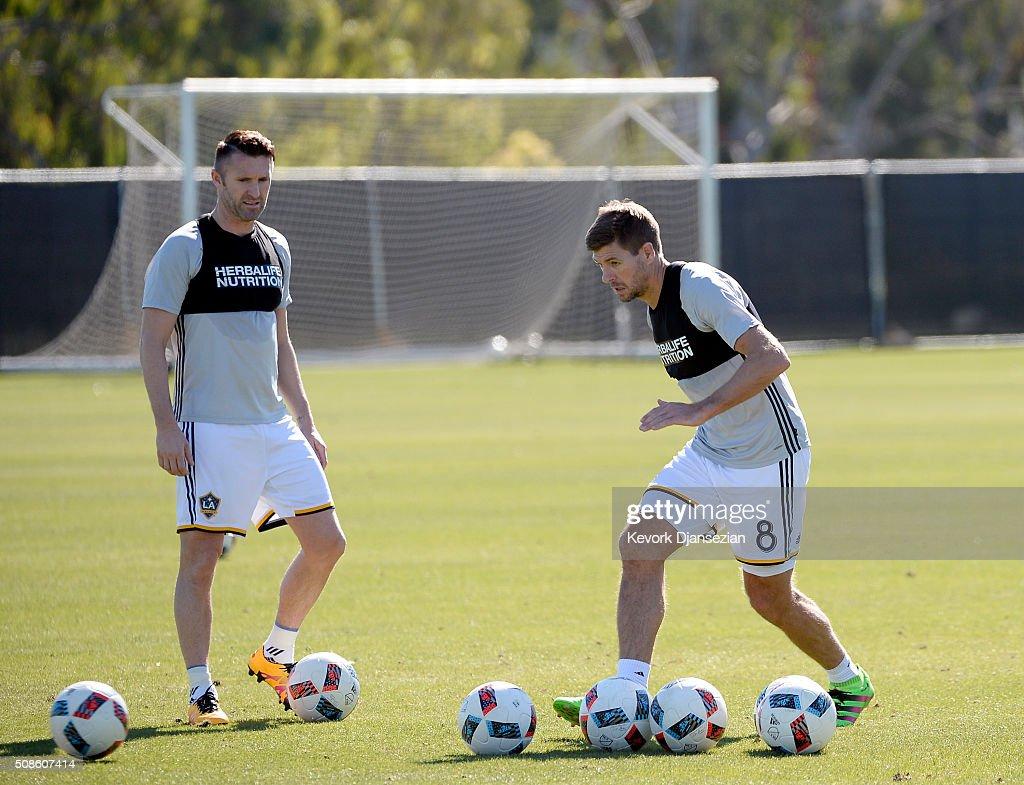 Steven Gerrard #8 and Robbie Keane of the Los Angeles Galaxy train at StubHub Center February 5, 2016, in Carson, California.