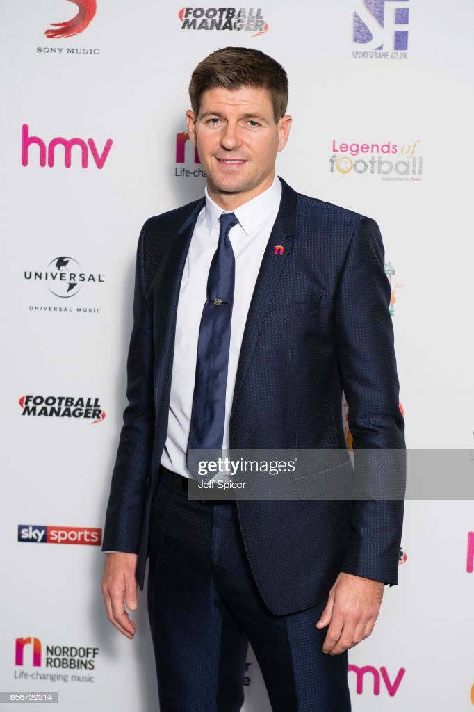 Steven Gerrard attends the Legends of Football fundraiser at The Grosvenor House Hotel on October 2, 2017 in London, England. The annual football-themed event is held in aid of Nordoff-Robins Music Therapy.