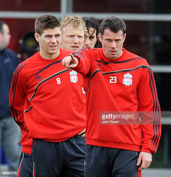 Steven Gerrard captain of Liverpool and Jamie Carragher during a Liverpool FC training session at Melwood Training Ground ahead of their UEFA Europa...