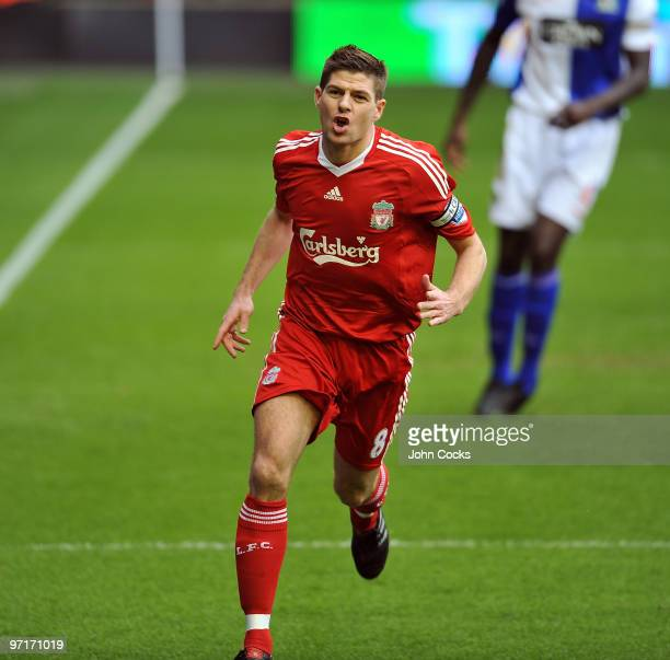Steven Gerrard captain of Liverpool celebrates after scoring a goal during a Barclays Premier League game between Liverpool and Blackburn Rovers at...