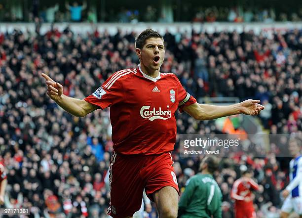 Steven Gerrard captain of Liverpool celebrates after scoring their first goal during the Barclays Premier League game between Liverpool and Blackburn...