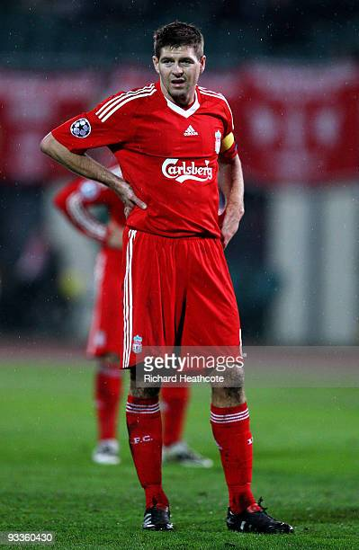 Steven Gerrard captain of Liverpool looks dejected during the UEFA Champions League group E match between Debrecen and Liverpool at the Ferenc Puskas...
