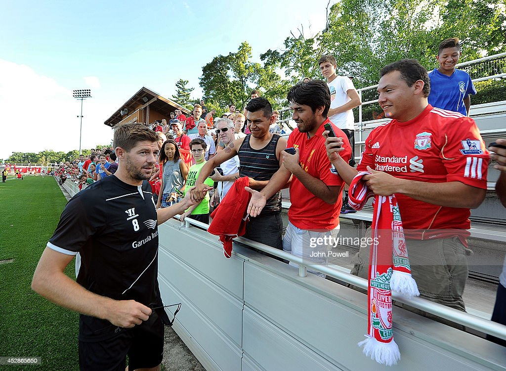 Steven Gerrard captian of Liverpool taking to fans after a training session at Princeton University on July 28, 2014 in Princeton, New Jersey.