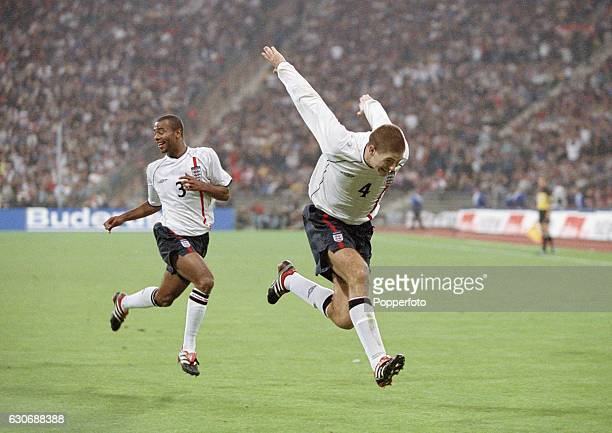 Steven Gerrard celebrates England's second goal during the FIFA World Cup Qualifying match between Germany and England in Munich on 1st September...