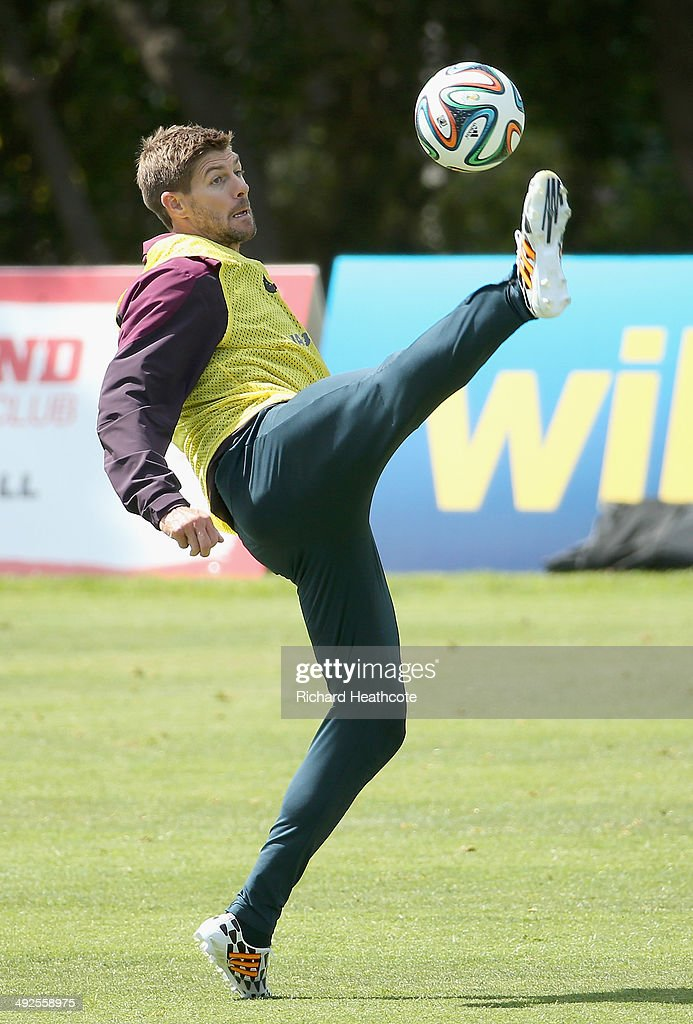 Steven Gerrard controls the ball during a training session at the England pre-World Cup Training Camp at the Vale Do Lobo Resort on May 21, 2014 in Vale Do Lobo, Algarve, Portugal.