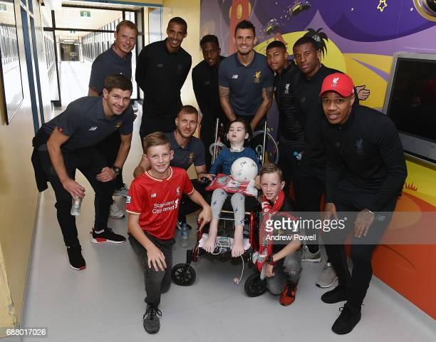 Steven Gerrard ex player for Liverpool with Rhian Brewster Ragnar Klavan Nathaniel Clyne Georginio Wijnaldum Divock Origi Dejan Lovren Alex Manninger...
