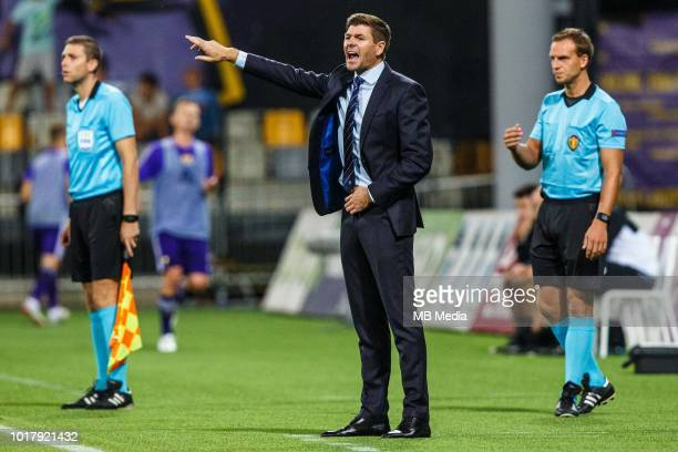 Steven Gerrard head coach of FC Rangers shouting during 2nd Leg football match between NK Maribor and Rangers FC in 3rd Qualifying Round of UEFA...